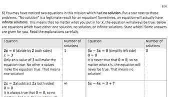 Linear Equations (EE4): 8.EE.C.7, HAS.REI.A.1