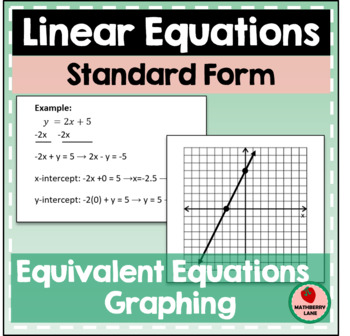 Graphing In Standard Form Teaching Resources Teachers Pay Teachers
