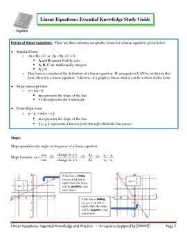 Linear Equations: Essential Knowledge and Study Guide