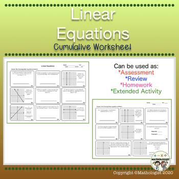 Linear Equations Final Review/Test