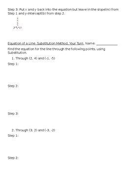 Linear Equations: Finding Equations from Two Points Packet