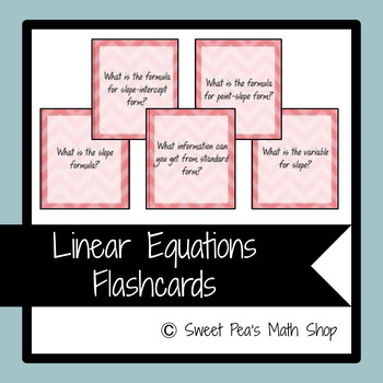 Linear Equations Flashcards - 35 Cards