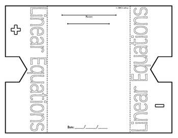 Linear Equations Foldable Graphic Organizer