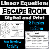 Solving Linear Equations Game: Escape Room Math Activity