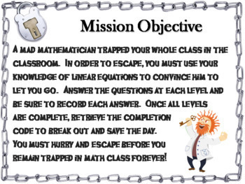 Solving Linear Equations Game: Algebra Escape Room Math Activity