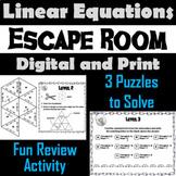 Solving Linear Equations Game: Algebra Escape Room Math Activity
