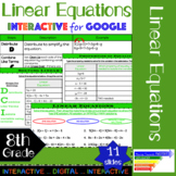 Linear Equations Interactive for Google Classroom/ Distanc
