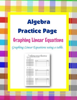 Linear Equations Graphing from a Table.