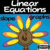 Linear Equations Graphing & Slope Thanksgiving Turkey Activity Puzzle