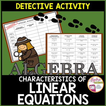 Identifying Characteristics of Linear Equations Detective Activity
