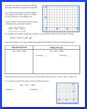 Linear Equations: Intercepts (Guided Notes and Assessment)