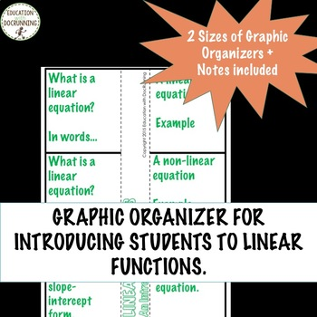 Linear Equations Interactive Notebook and card sort