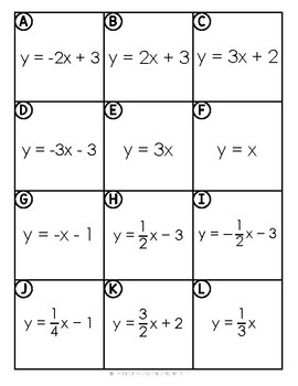 Linear Equations Match UP Activity