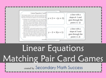 Linear Equations Matching Pair Cards Games