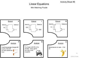 Linear Equations - Mini Matching Puzzles