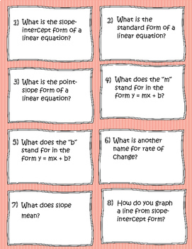 Linear Functions Mini Task Cards