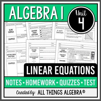 Linear Equations Algebra 1 Curriculum Unit 4