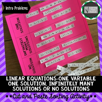 One Variable Equations Cut and Paste Sorting Activity 8.EE.C.7a