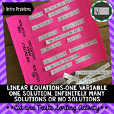 One Variable Equations Cut and Paste Sorting Activity