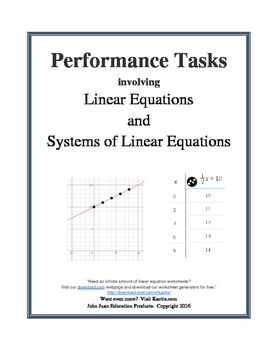 Linear Equations Performance Tasks