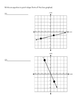 Linear Equations Point Slope Quiz