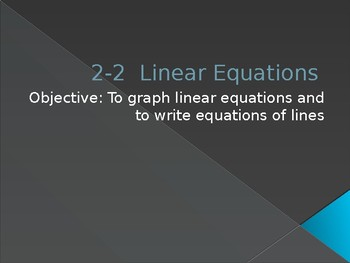 Linear Equations Powerpoint
