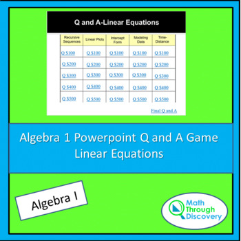 Powerpoint Q and A Game - Linear Equations