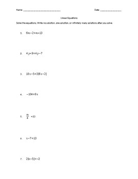 Linear Equations - Practice