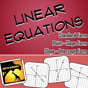 Linear Equations Practice Activities By Math Giraffe Tpt