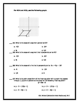Linear Equations Practice and Review Questions (EOC Based)