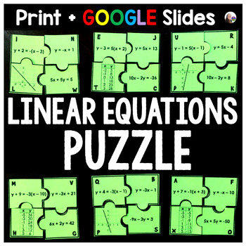 Linear Equations Puzzle By Scaffolded Math And Science Tpt