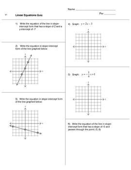 Linear Equations Quiz (version 1)