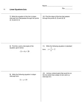 Linear Equations Quiz (version 2)