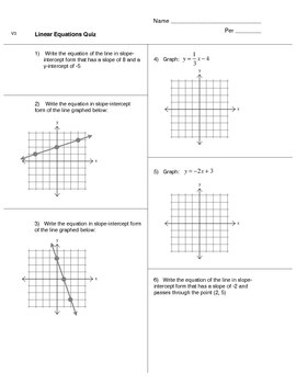 Linear Equations Quiz (version 3)