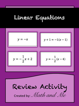 Linear Equations Review Activity