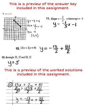 Linear Equations Review Worksheet with Answer Key & Worked Solutions