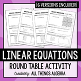 Linear Equations Round Table Activity