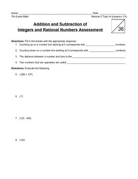 Addition and Subtraction of Integers and Rational Numbers Assessment