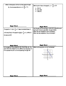 Linear Equations - Scavenger Hunt