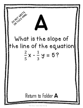 Linear Equations Scavenger Hunt Looping Activity - all three forms
