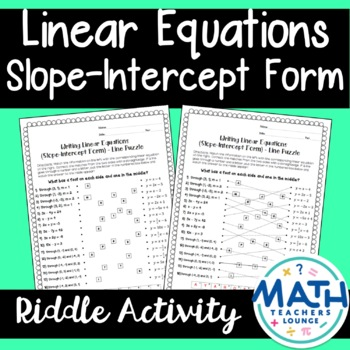 Linear Equations Slope-Intercept Form: Line Puzzle Activity
