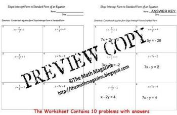 Linear Equations Slope Intercept to Standard Form Worksheet  A-CED, A-REI