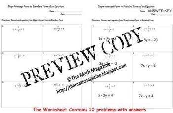 Linear Equations Slope Intercept to Standard Form Workshee