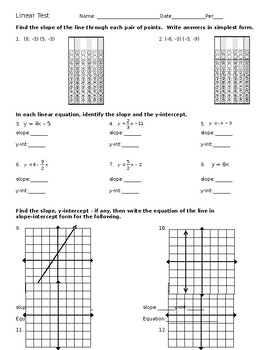 Linear Equations, Slope, X-Y Intercepts TEST - FULLY EDITABLE
