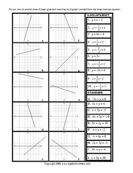 slope intercept form review worksheet  Linear Equations Slope-Intercept, Standard Form and Graphs Review Worksheet