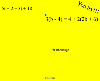 Linear Equations SmartBoard Lesson
