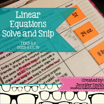 Linear Equations Solve and Snip Interactive Word Problems