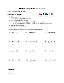 Linear Equations: Standard Form