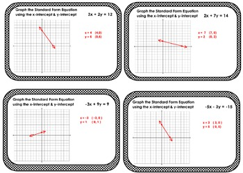 Linear Equations Standard Form Graphing Intercepts Task Cards Exit Tickets