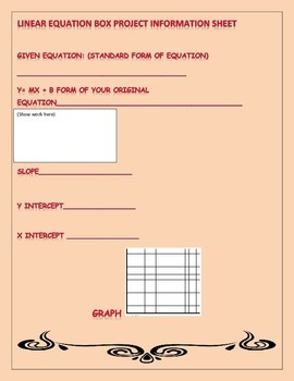 Linear Equations: Standard Form/Slope Intercept form Box Project